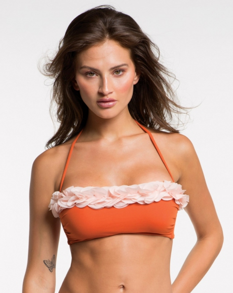 Bandeau swimsuit top with chiffon flowers