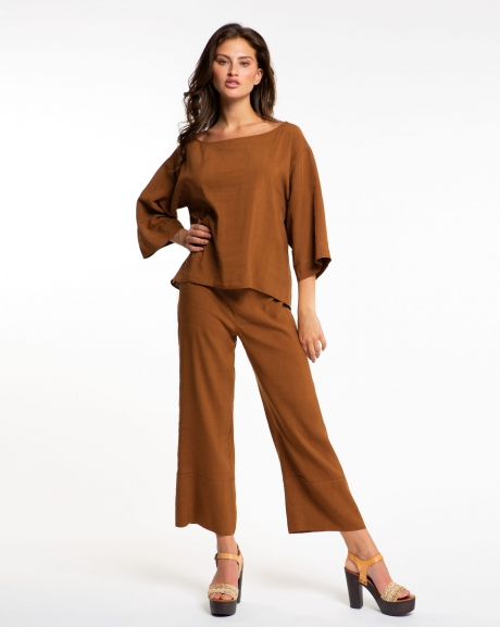 Solid color long trousers