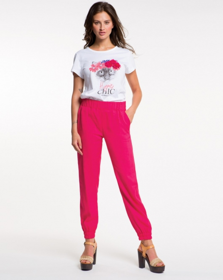 Solid color soft trousers
