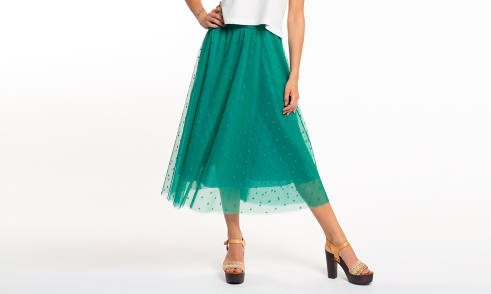 Gonna midi in tulle a pois verde smeraldo
