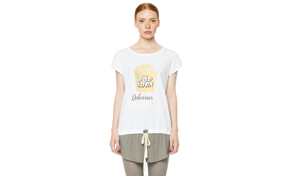 Maxi t-shirt con stampa pop corn