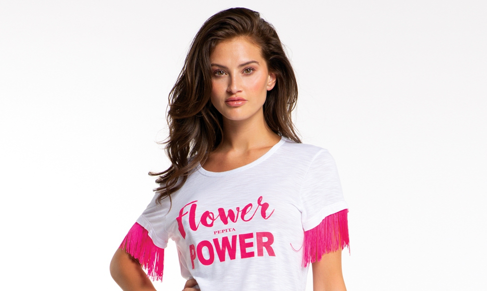 Maxi t-shirt bianca Flower Power fuxia
