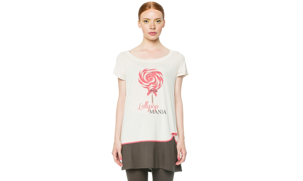 Maxi t-shirt con stampa lollipop
