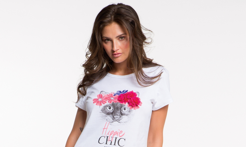 T-shirt bianca Hippie Chic con gatto